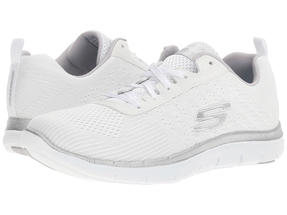 SKECHERS - Flex Appeal 2.0 - Break Free (White/Silver) Women's Shoes
