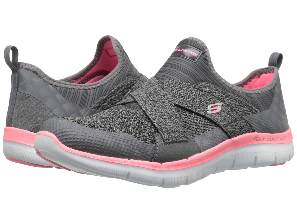 SKECHERS - Flex Appeal 2.0 - New Image (Charcoal/Coral) Women's Slip on Shoes