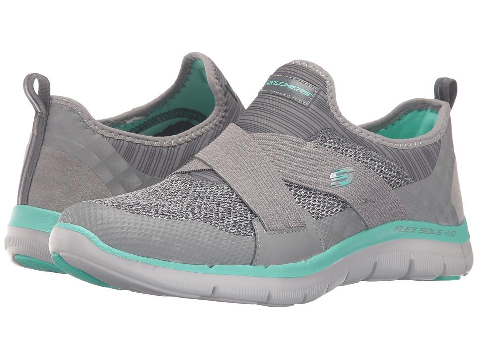 SKECHERS - Flex Appeal 2.0 - New Image (Gray/Turquoise) Women's Slip on Shoes