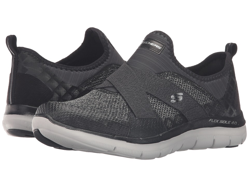 SKECHERS - Flex Appeal 2.0 - New Image (Black/Grey) Women's Slip on Shoes
