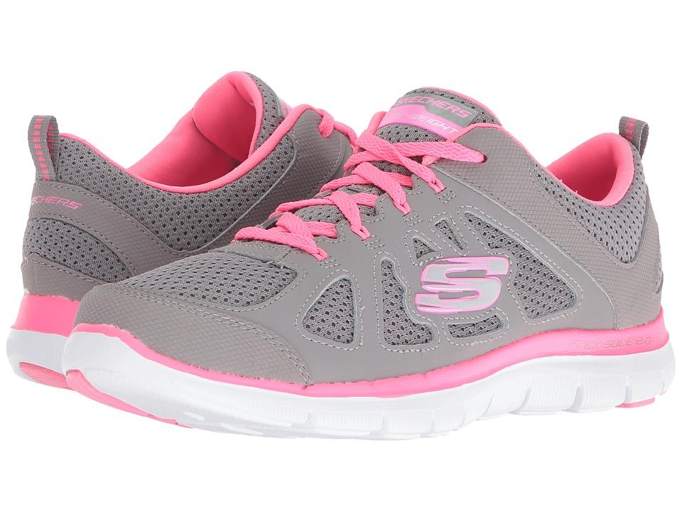 SKECHERS - Flex Appeal 2.0 - Simplistic (Gray/Hot Pink) Women's Shoes