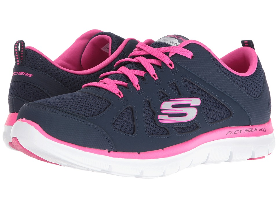 SKECHERS - Flex Appeal 2.0 - Simplistic (Navy/Hot Pink) Women's Shoes