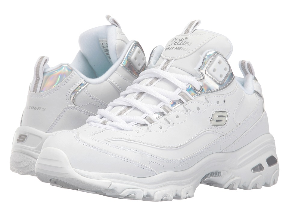 SKECHERS - D'Lites - Style Rethink (White/Silver) Women's Shoes