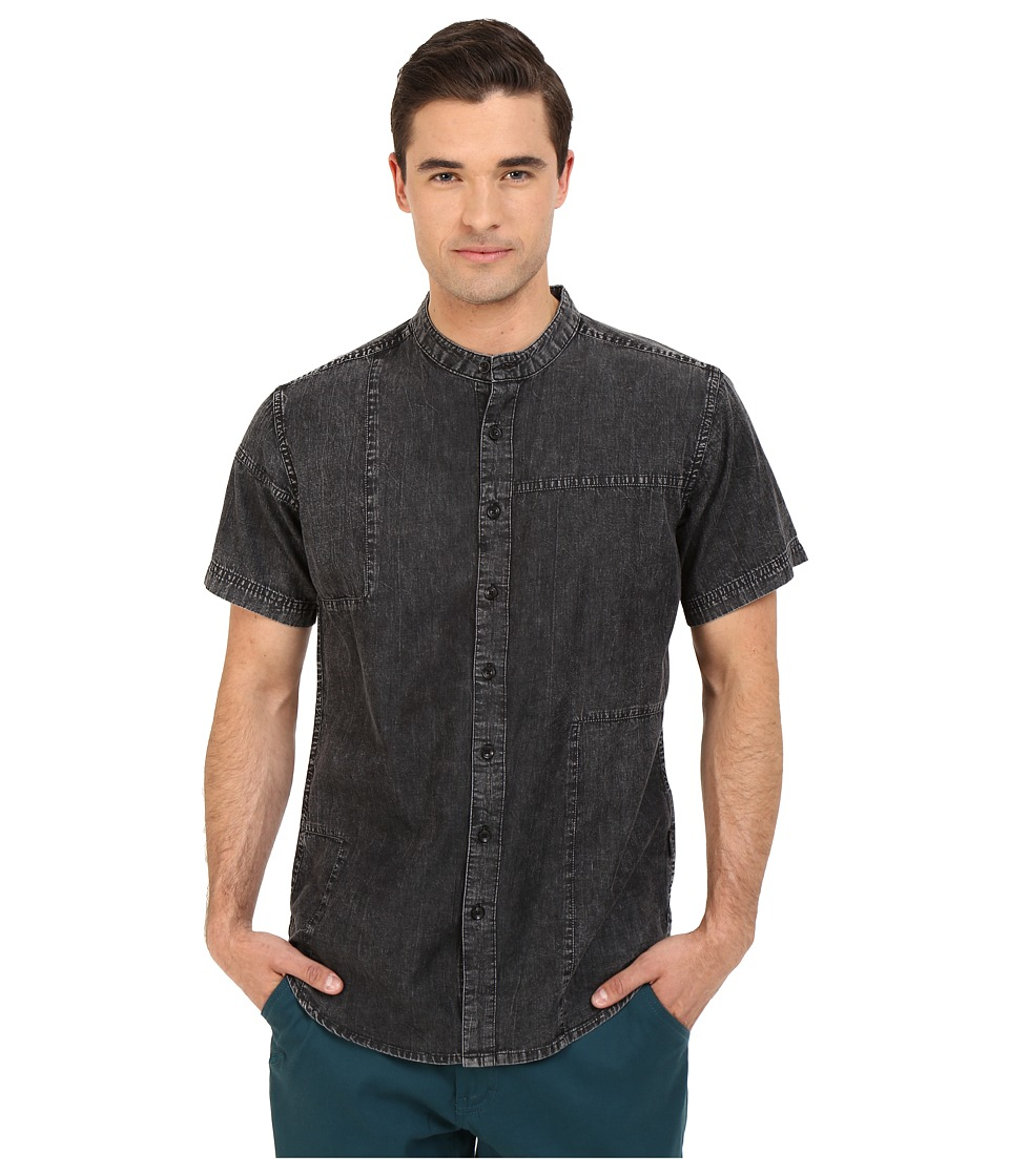 Publish - Camilo - Mandarin Collar Denim Chambray Button Up (Black) Men's Short Sleeve Button Up