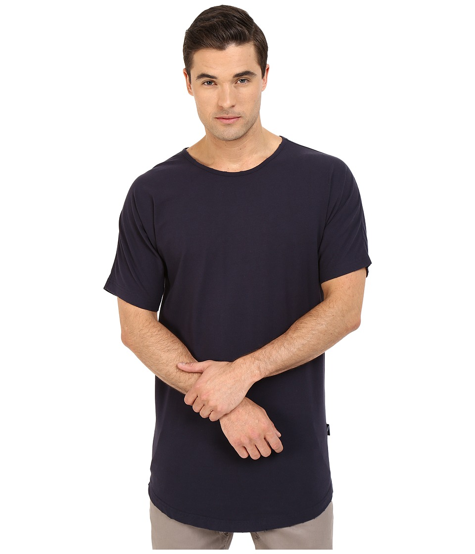 Publish - Beckham - Distressed Scallop Bottom Tee (Navy) Men's T Shirt