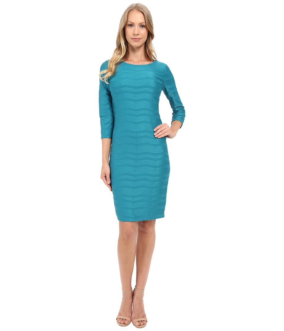 Calvin Klein - Textured Sheath Dress CD5P4K6X (Lagoon) Women's Dress