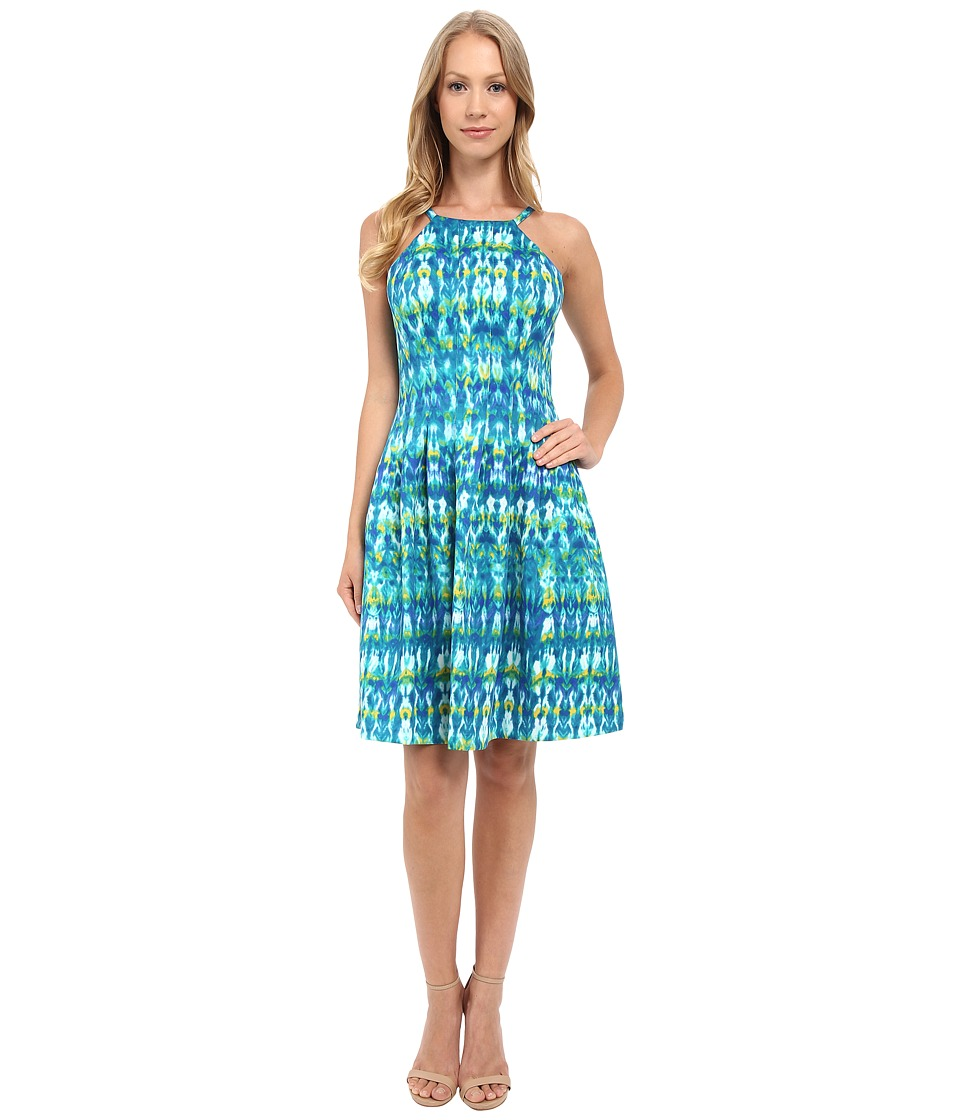 Calvin Klein - Halter Neck Fit Flare Dress CD6M2B6D (Atlantis Multi) Women's Dress