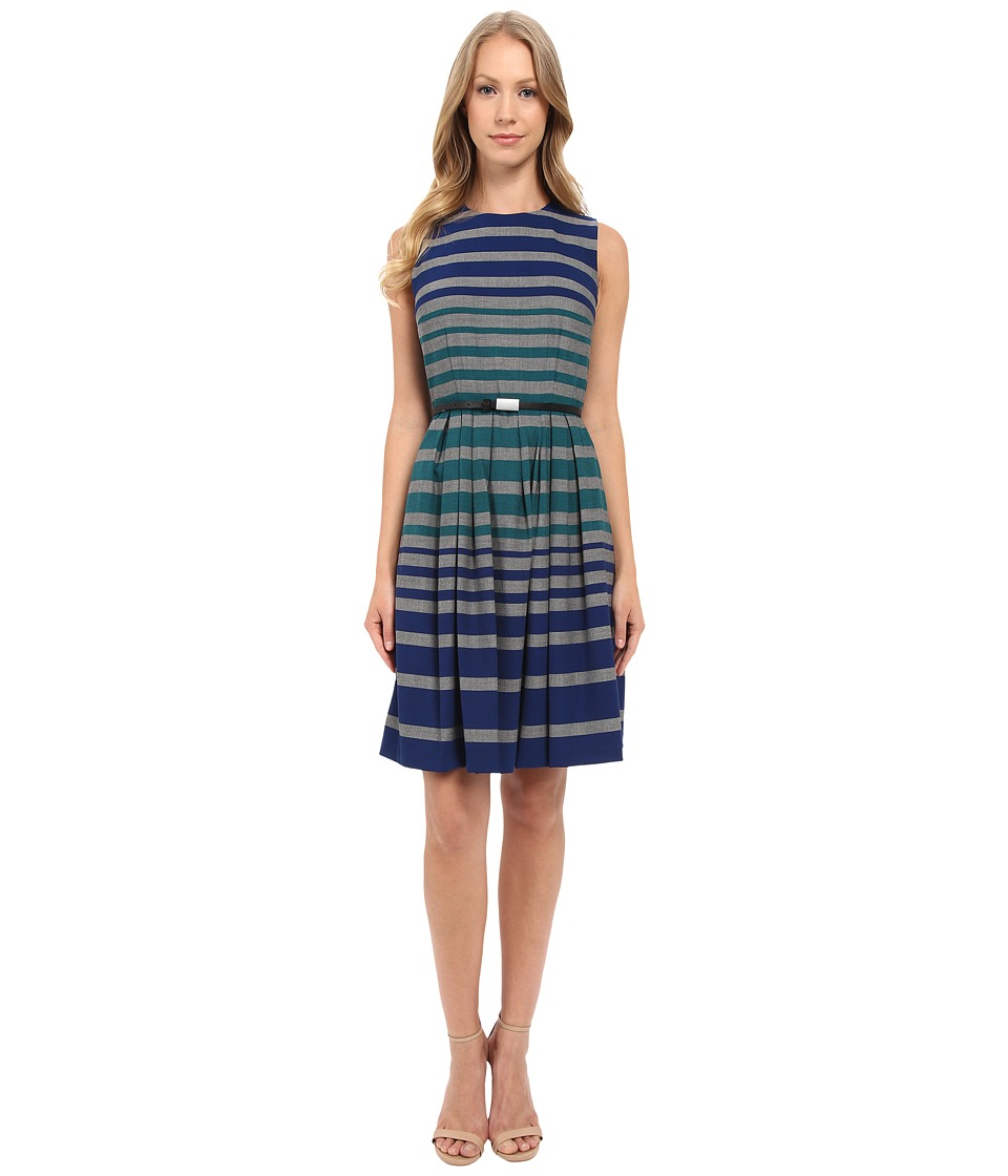 Calvin Klein - Stripe Fit Flare Dress CD5XB3W5 (Atlantis Multi) Women's Dress