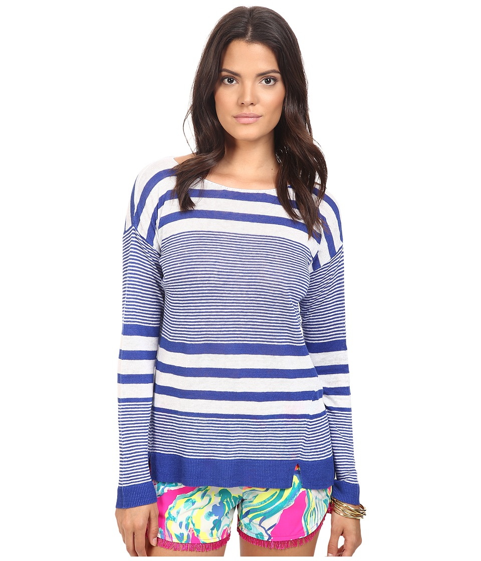 Lilly Pulitzer - Camilla Sweater (Bomber Blue Exotic Garden Stripe) Women's Sweater