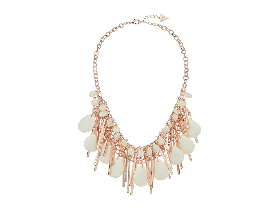 GUESS - Multi Faceted Bead and Stick Statement Necklace (Rose Gold/White/Crystal) Necklace