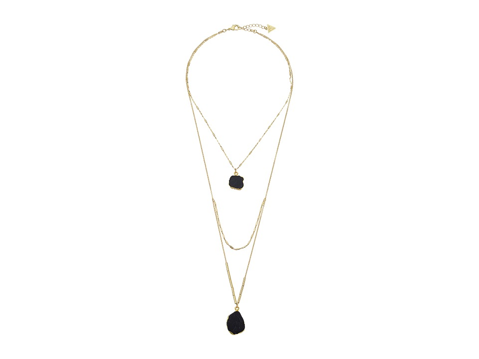 GUESS - Look of 3 Necklace w/ Organic Stones (Gold/Crystal/Jet) Necklace