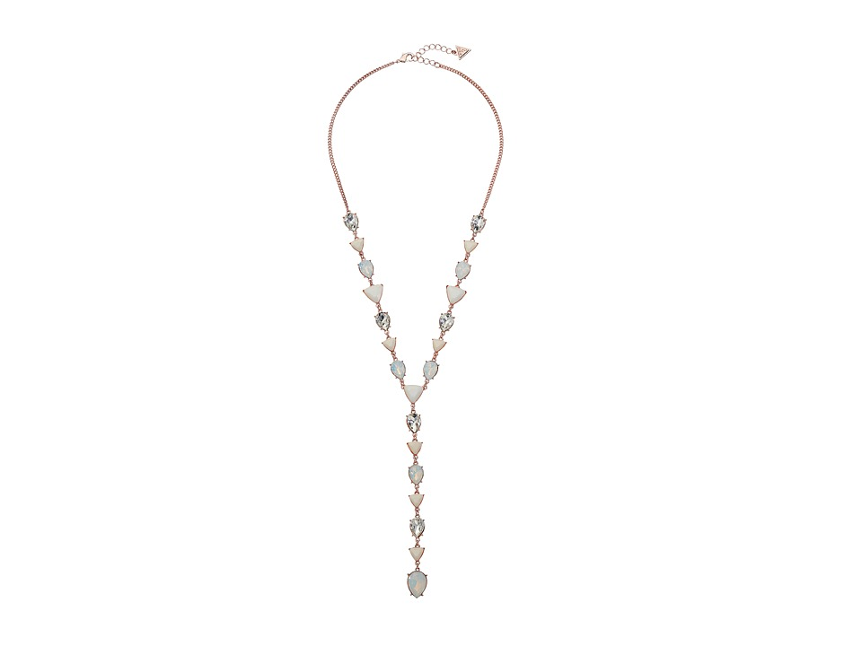 GUESS - Triangle and Round Stone Y Necklace (Rose Gold/White Opal/Crystal) Necklace