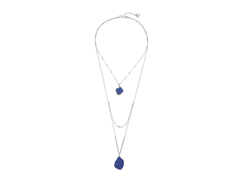 GUESS - Look of 3 Necklace w/ Organic Stones (Silver/Blue) Necklace