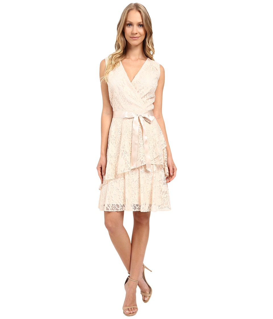 Tahari by ASL - V-Neck All Over Lace Dress w/ Tiered Skirt (Champagne) Women's Dress
