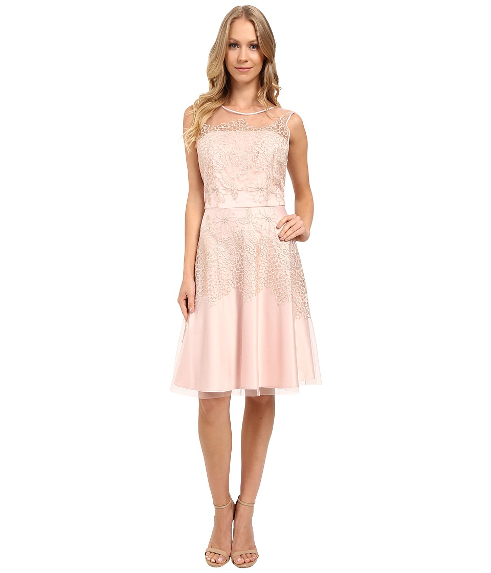 Tahari by ASL - Embroidered Lace Fit and Flare Dress (Blush) Women's Dress