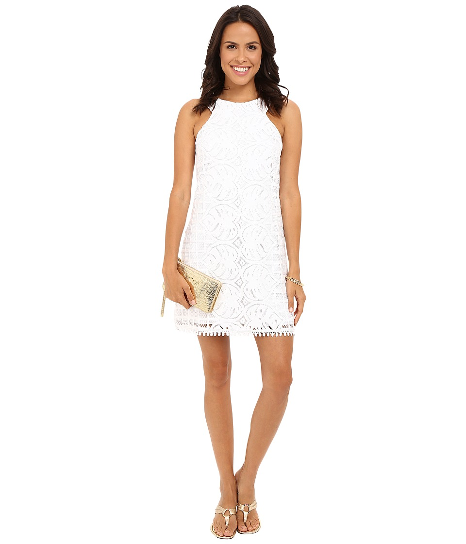 Lilly Pulitzer - Mango Shift Dress (Resort White Leafy Palm Lace) Women's Dress