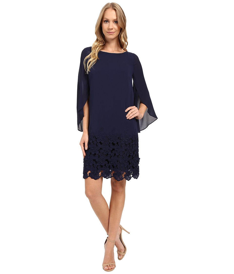 Tahari by ASL - Tulip Sleeve Chiffon Shift Dress w/ Floral Hem (Navy) Women