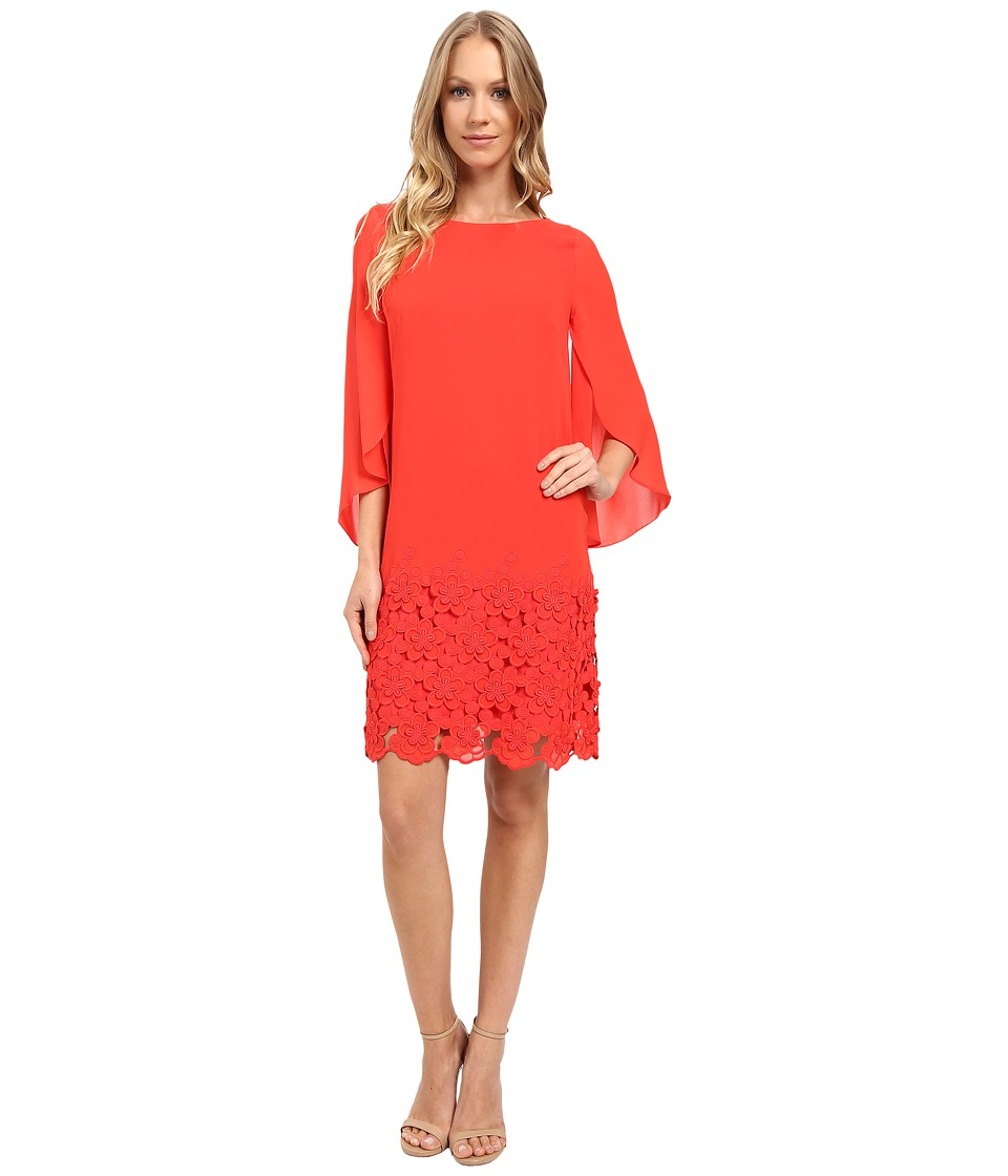 Tahari by ASL - Tulip Sleeve Chiffon Shift Dress w/ Floral Hem (Coral) Women's Dress
