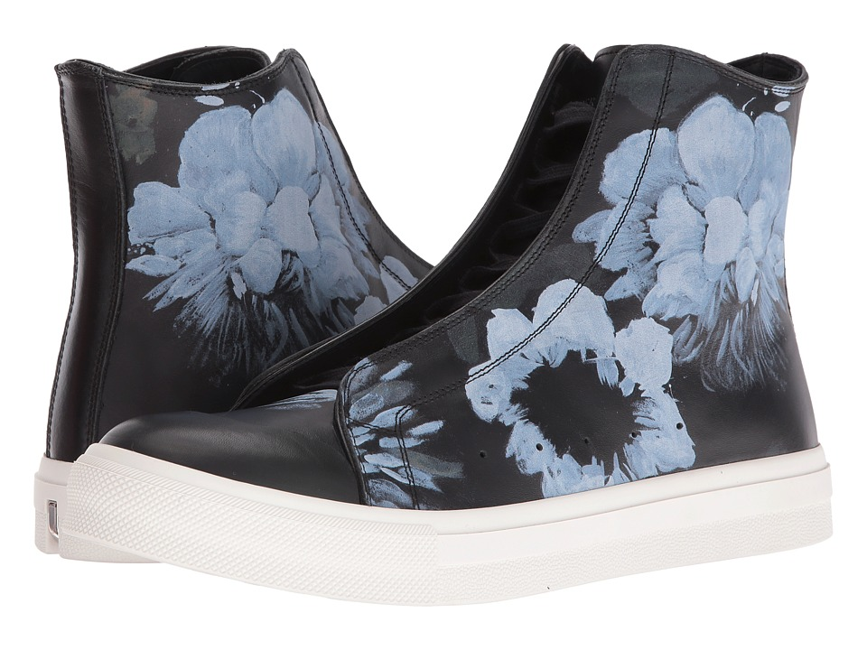 Alexander McQueen - Floral Painted High Top Sneaker (Black/Black) Men's Lace up casual Shoes