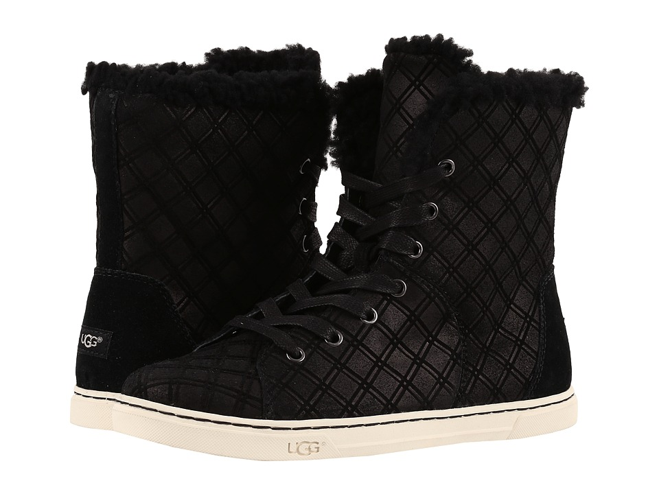 UGG - Croft Double Diamond (Black) Women's Lace up casual Shoes