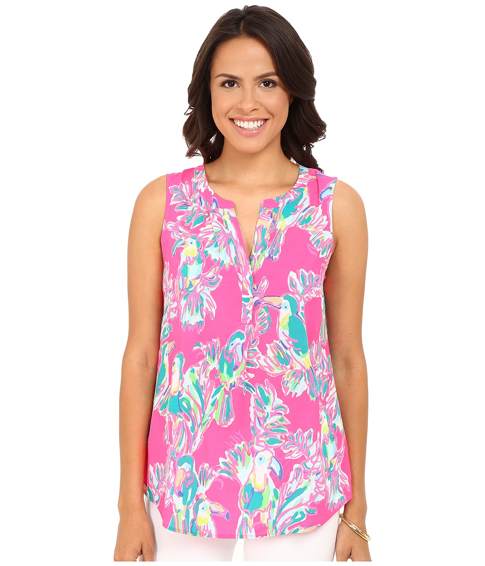 Lilly Pulitzer - Sleeveless Stacey Top (Dragonfruit Pink Toucan Can) Women's Sleeveless