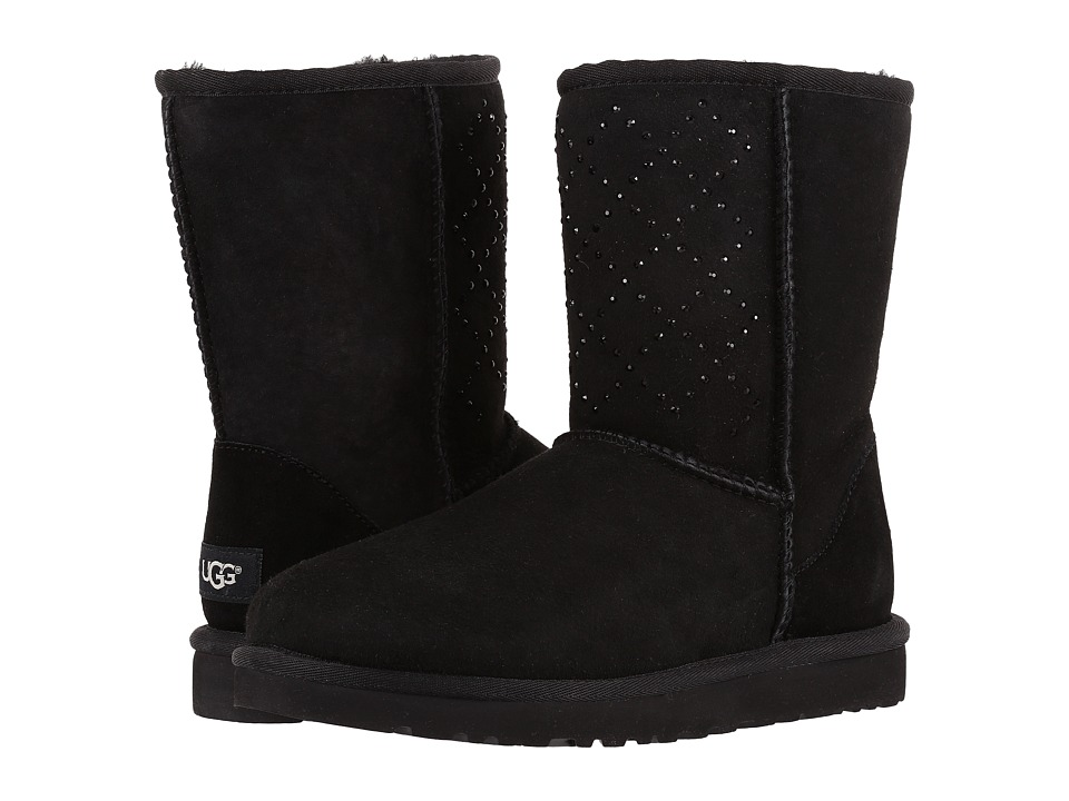UGG - Classic Short Crystal Diamond (Black) Women's Cold Weather Boots