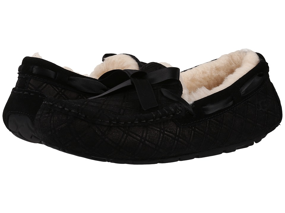 UGG - Dakota Double Diamond (Black) Women's Lace Up Moc Toe Shoes