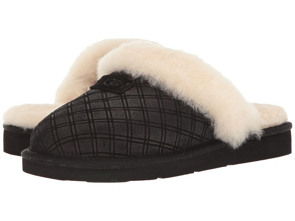 UGG - Cozy Double Diamond Holiday Gift Box (Black) Women's Slippers