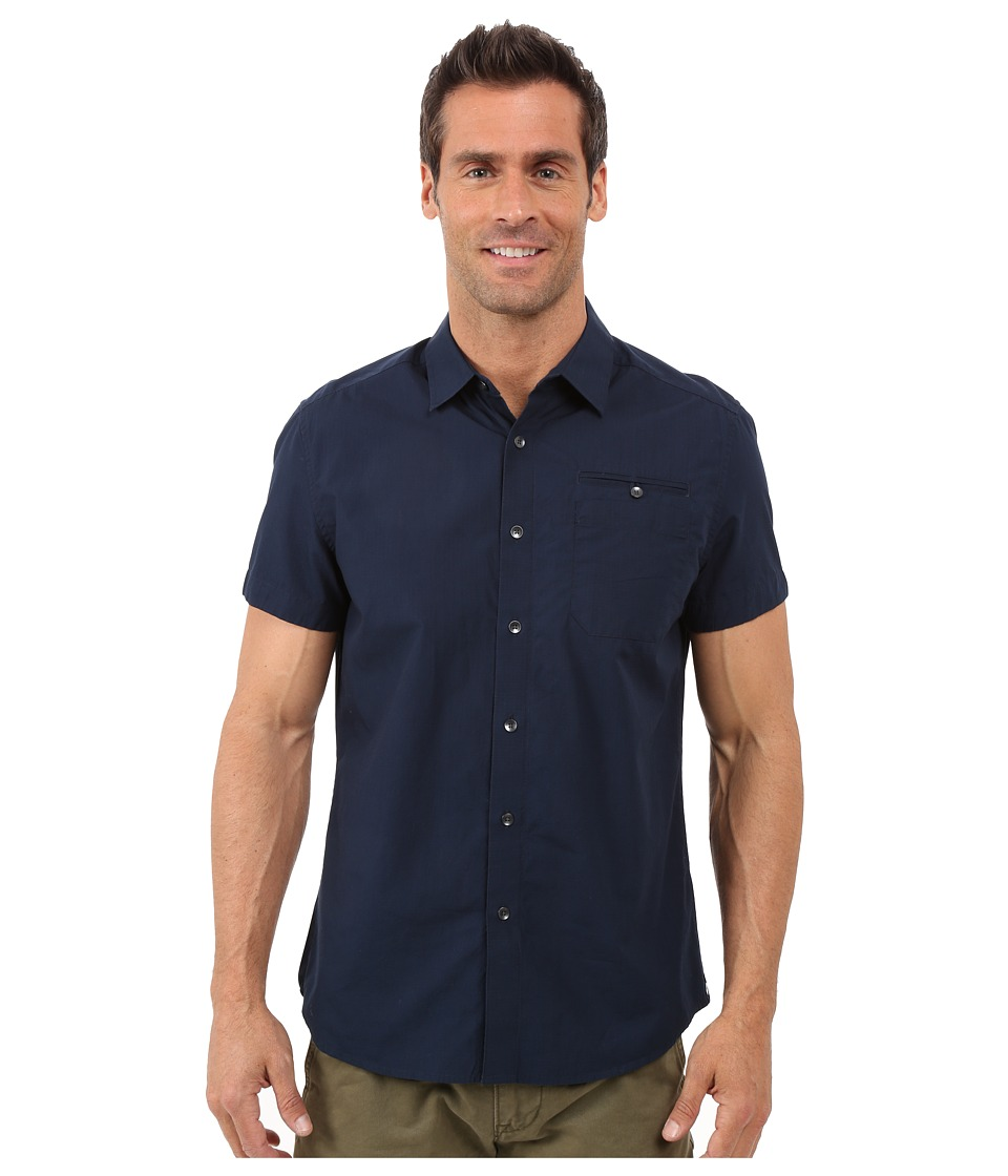 Kenneth Cole Sportswear - Short Sleeve Button Down Ripstop (Indigo) Men's Short Sleeve Button Up