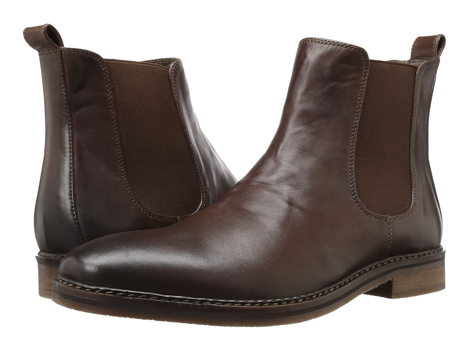 Nunn Bush - Hampton Plain Toe Double Gore Slip-On Boot (Brown) Men's Shoes