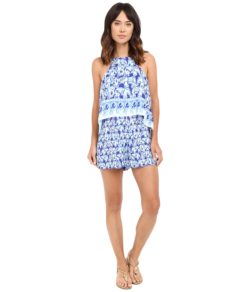 Lilly Pulitzer - Celyn Romper (Bomber Blue Get Trunky Engineered) Women's Jumpsuit & Rompers One Piece