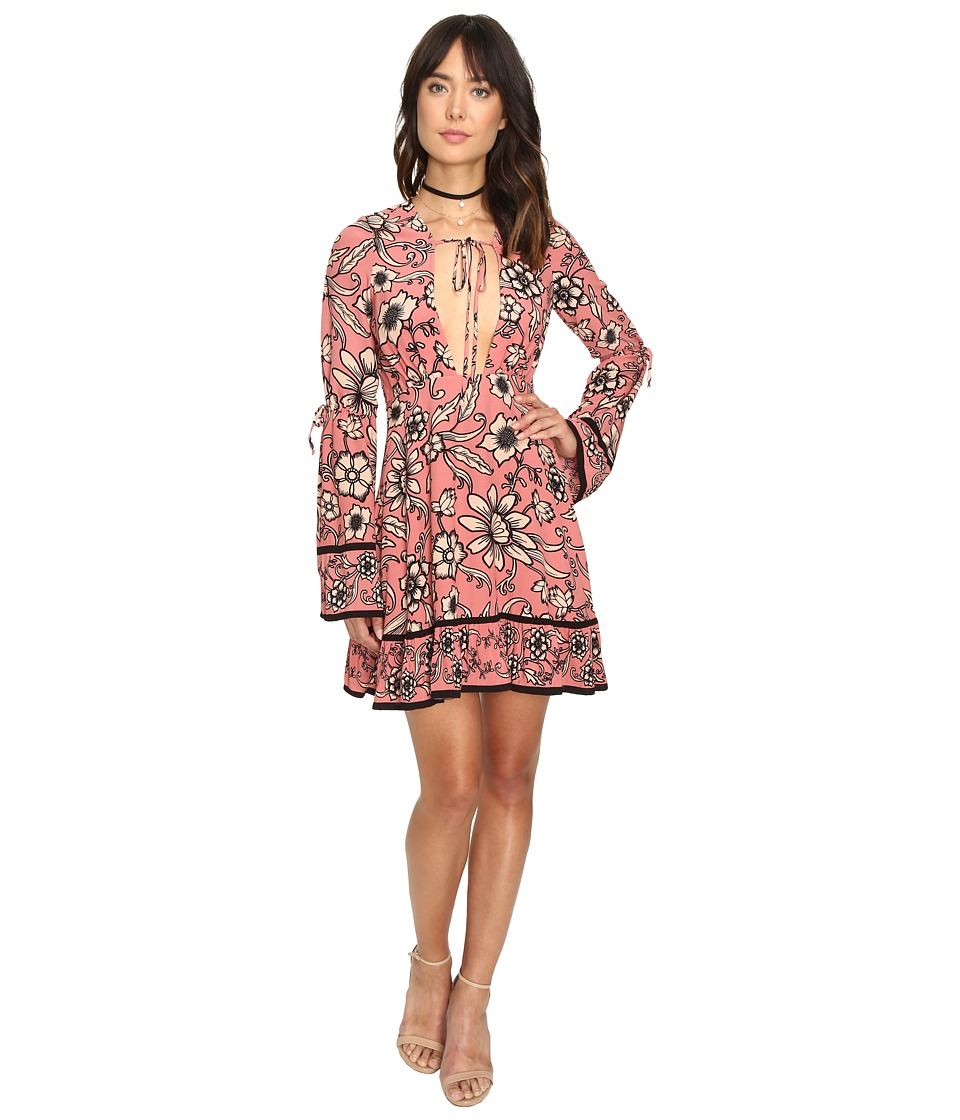 For Love and Lemons - Ayla Plunging Dress (Pink Floral) Women's Dress