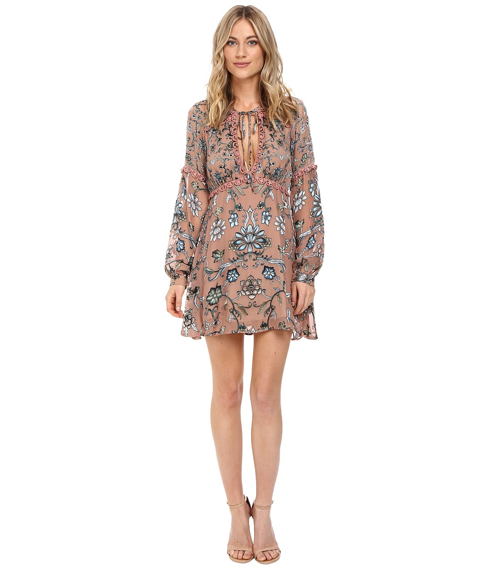 For Love and Lemons - Saffron Mini Dress (Teal Floral) Women's Dress