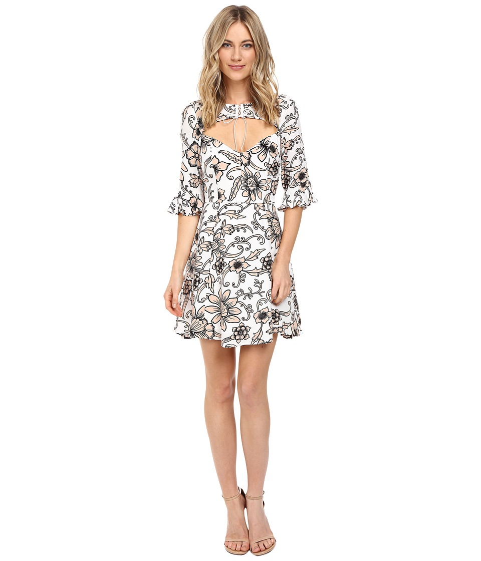 For Love and Lemons - Ayla Lace-Up Dress (White Floral) Women's Dress
