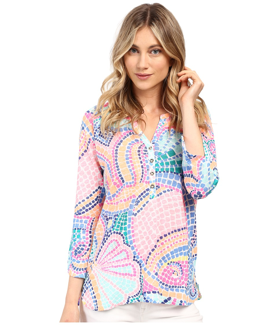 Lilly Pulitzer - Egret Top (Multi Tile Wave) Women's Clothing