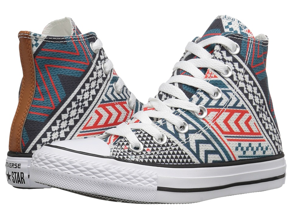 Converse Chuck Taylor All Star Festival Woven Hi (Black/White/Aqua Red) Classic Shoes
