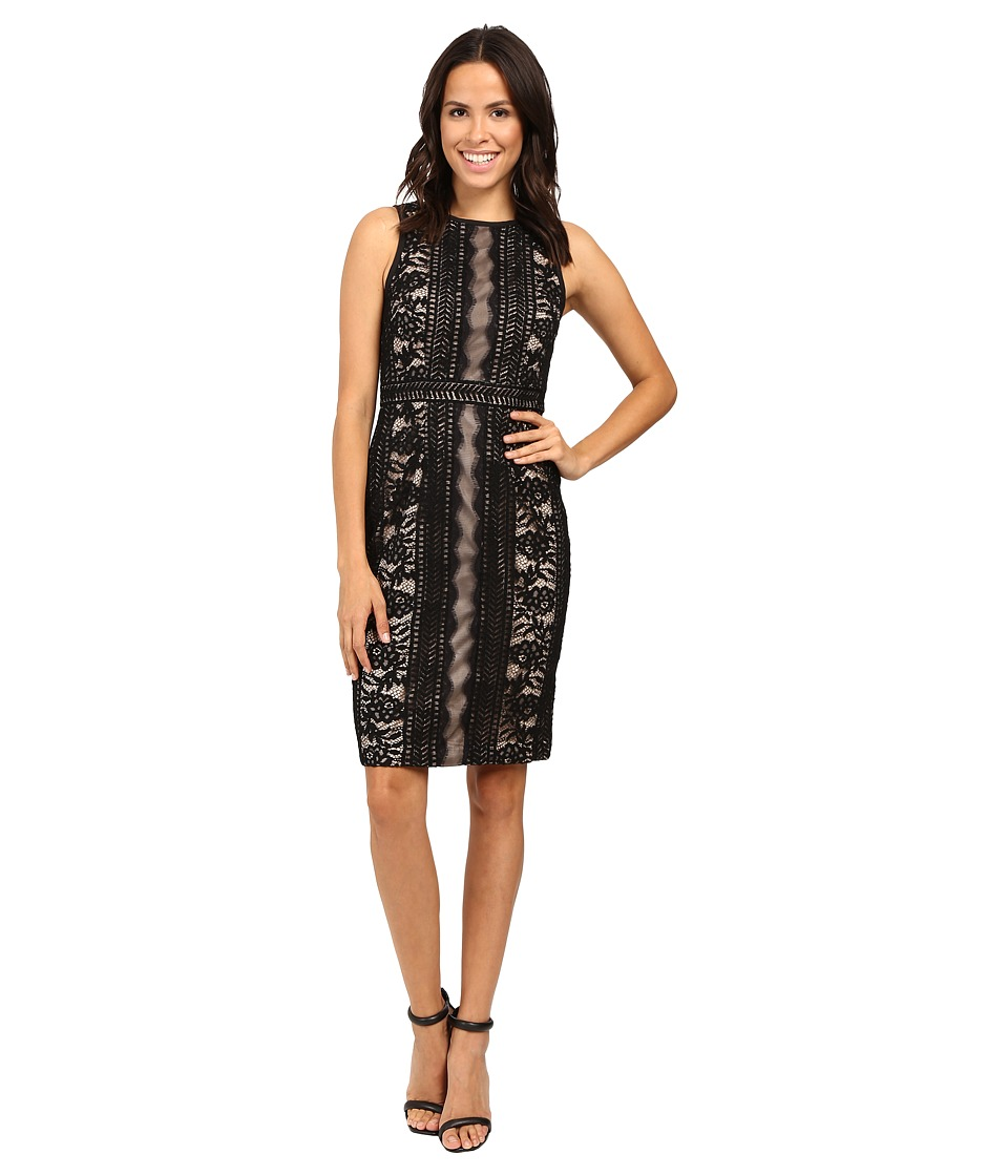 Adrianna Papell - Fully Lined Striped Lace and Floral Sheath Dress with Jeweled Neckline (Black) Women's Dress