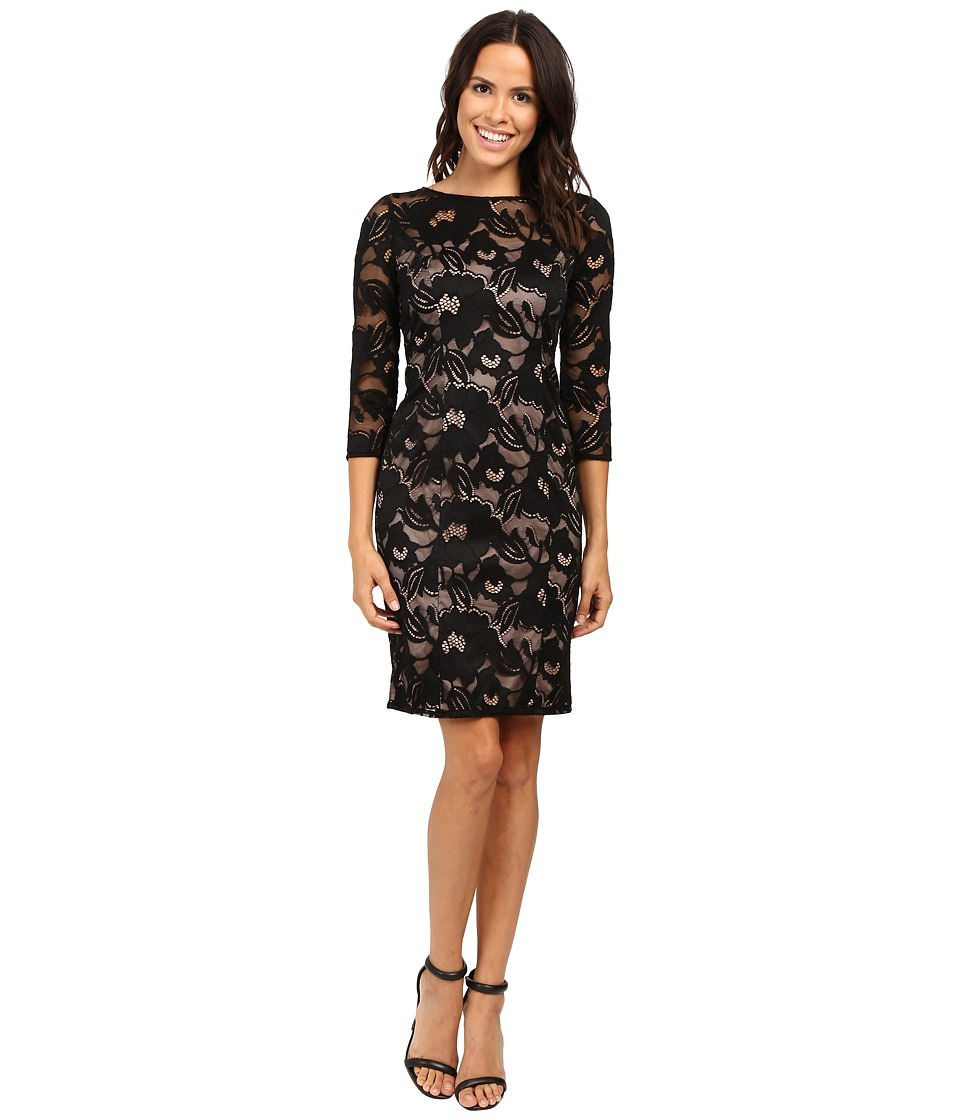 Adrianna Papell - Lined Carol Lace Sheath Dress with Jeweled Neckline (Black/Pale Pink) Women's Dress