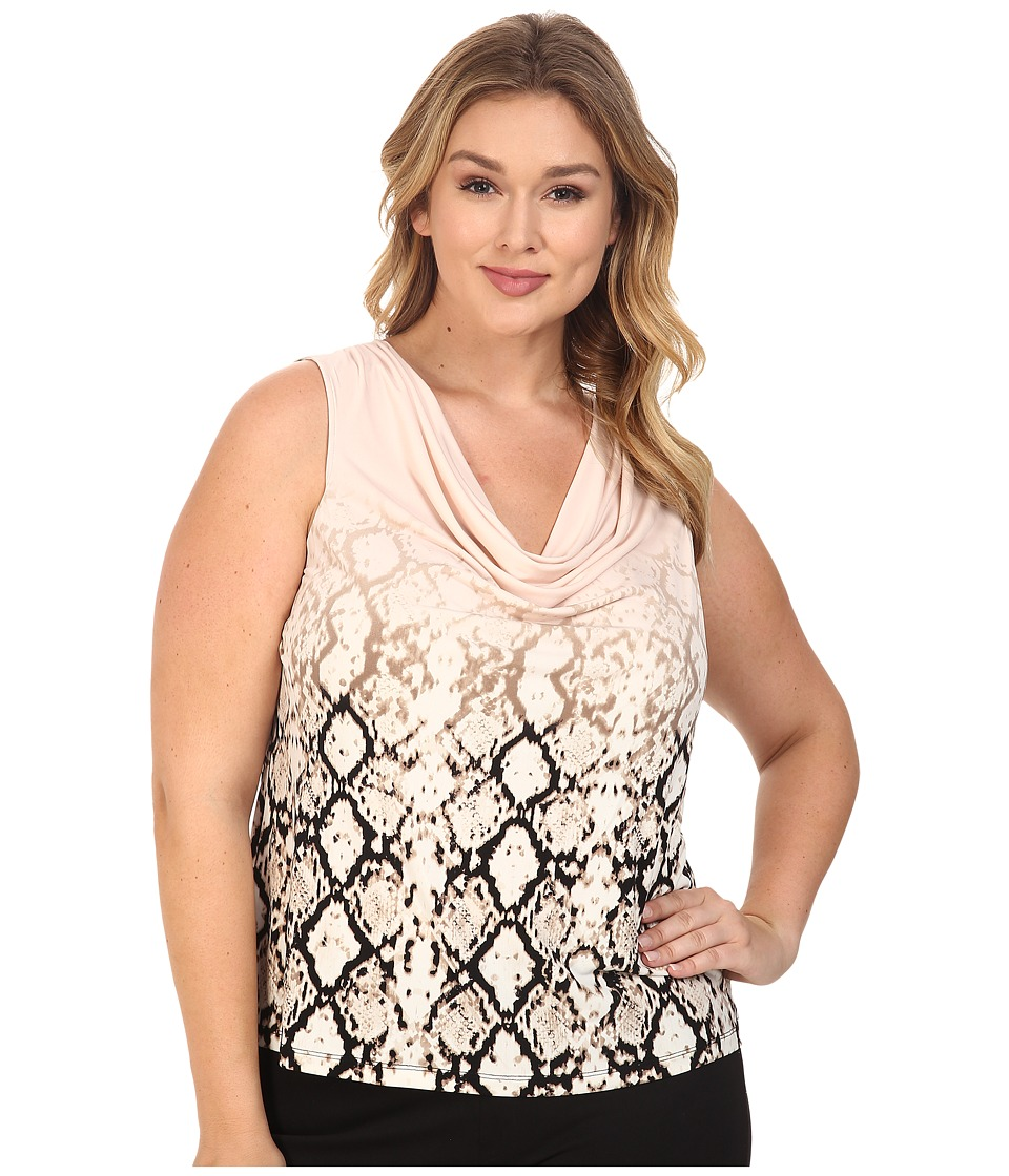 Calvin Klein Plus - Plus Size Printed Cowl Neck Sleeveless Top (Blush Multi) Women's Sleeveless