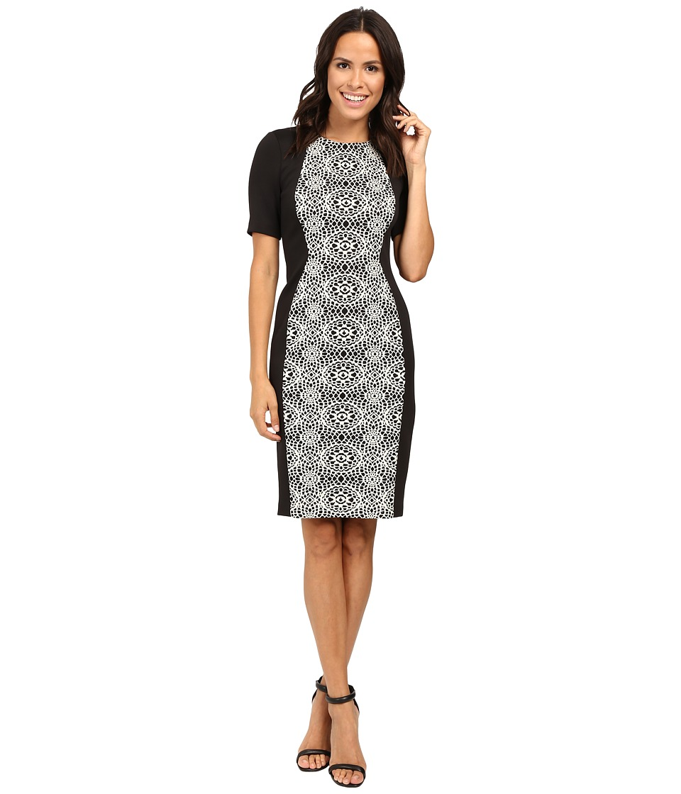Adrianna Papell - Lined Geo Bonded Lace Sheath Dress (Black/Ivory) Women's Dress