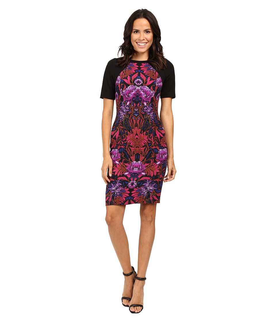 Adrianna Papell - Lined Mums Mirage Printed Stretch Crepe Sheath Dress (Pink Multi) Women's Dress