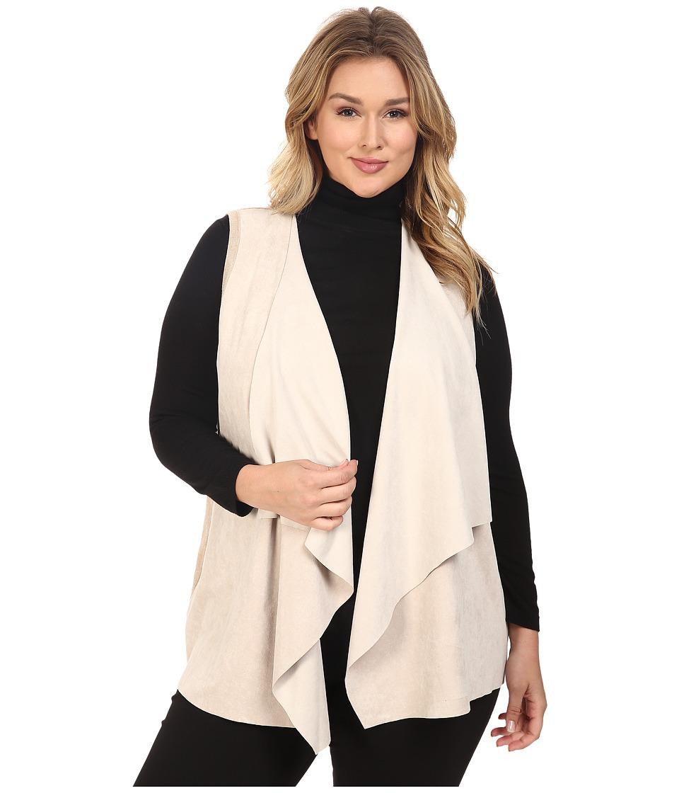Calvin Klein Plus Plus Size Vest w/ Suede Drape (Latte) Women