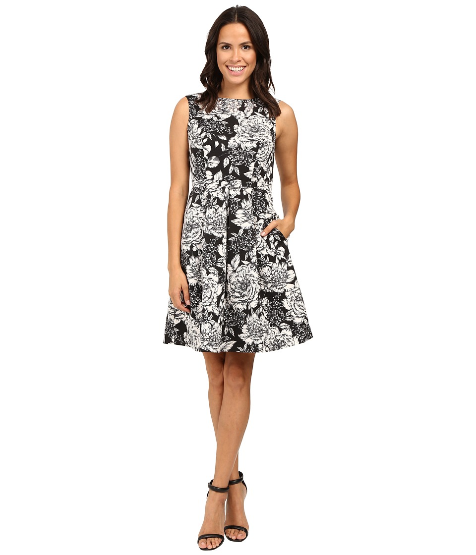 Adrianna Papell Lined Antique Elegance Printed Faille Fit and Flare Dress (Black Multi) Women