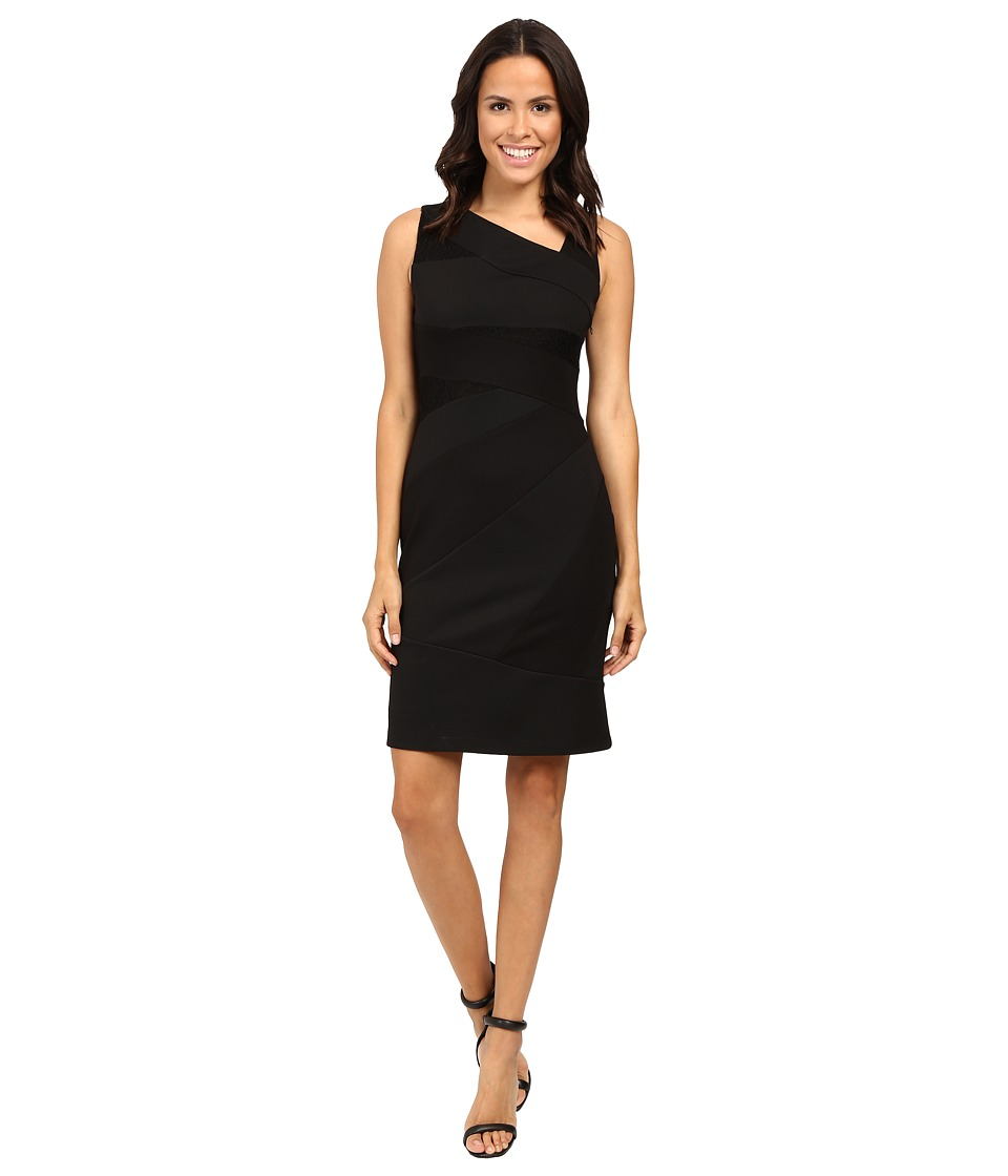 Adrianna Papell - Sleeveless Bodycon Lace Blocked Dress (Black 1) Women's Dress