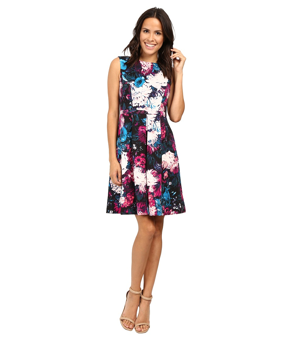 Adrianna Papell Lined Renaissance Printed Suba Fit and Flare Dress (Black Multi) Women