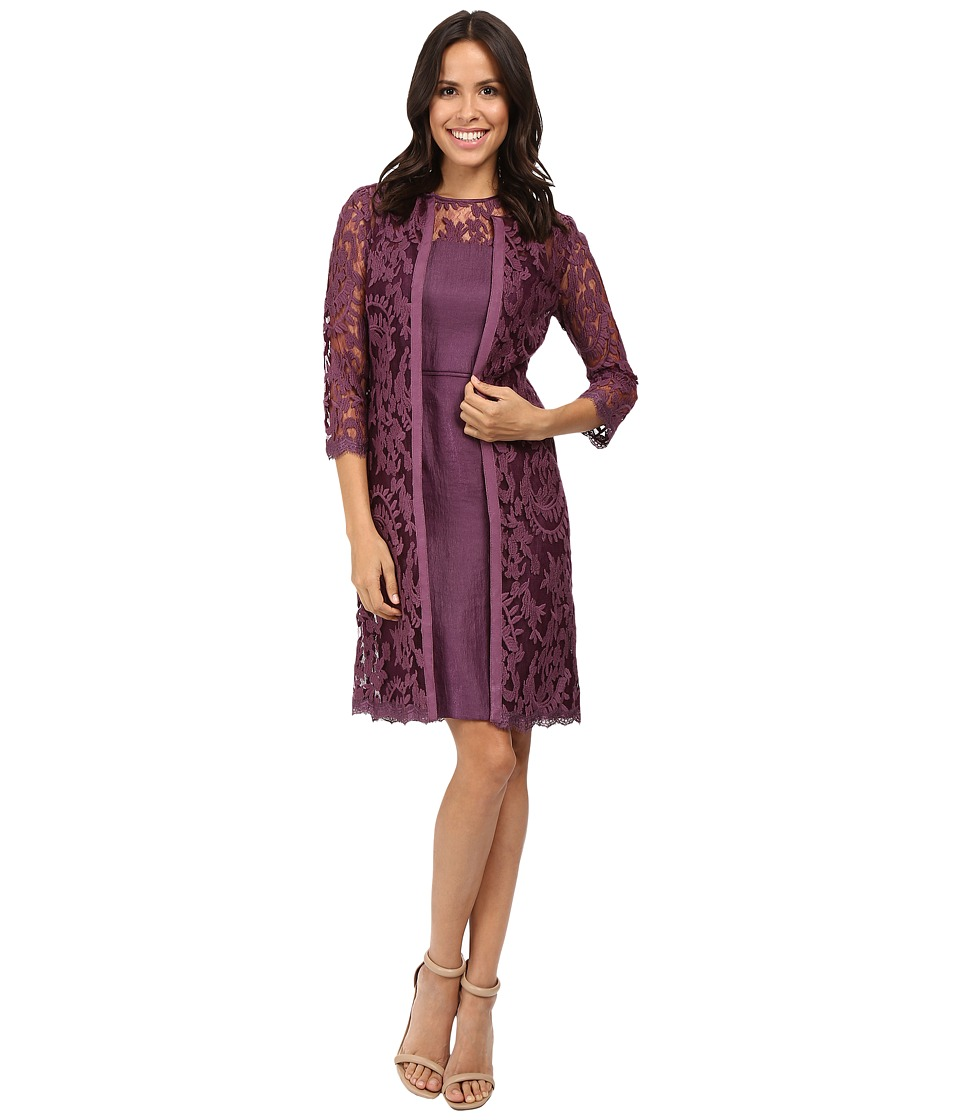 Adrianna Papell - Lace Yoke Shimmer Sheath Jacket (Ice Plum) Women's Dress