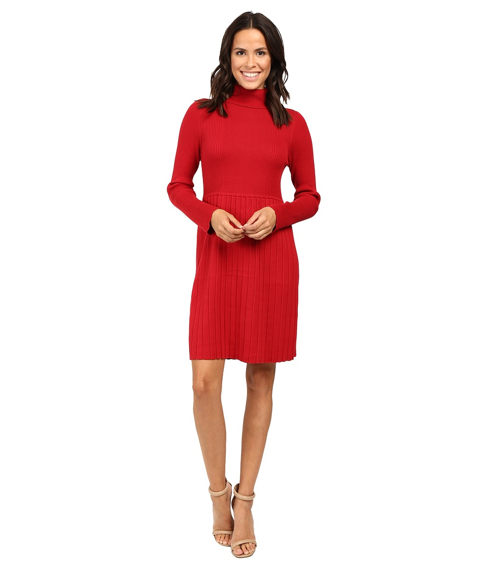 Adrianna Papell Turtleneck Long Sleeve Solid Pleat Dress