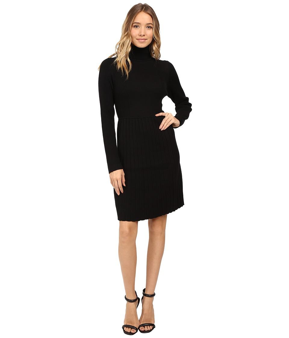 Adrianna Papell - Turtleneck Long Sleeve Solid Pleat Dress (Black) Women's Dress