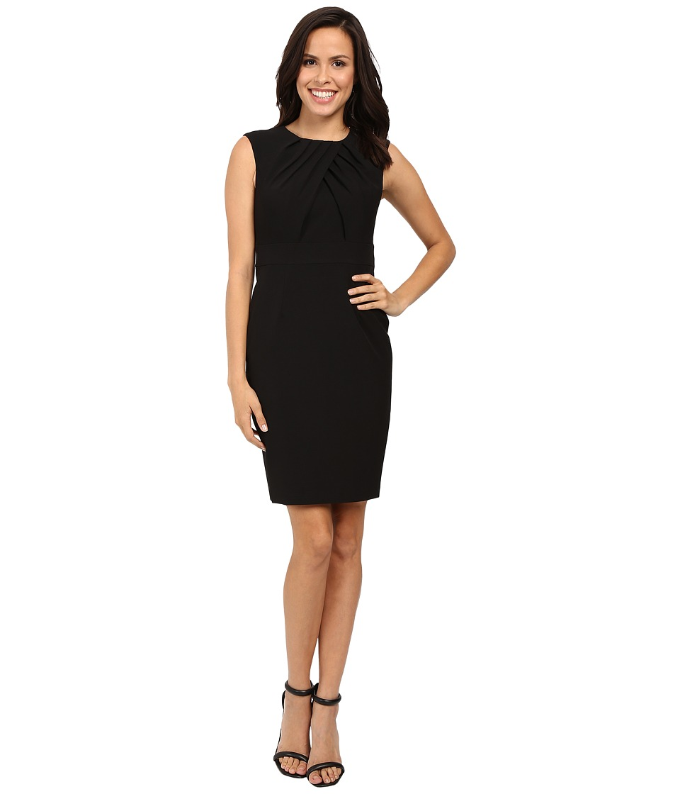 Adrianna Papell - Faux Overlapping Bodice Sheath Dress (Black) Women's Dress