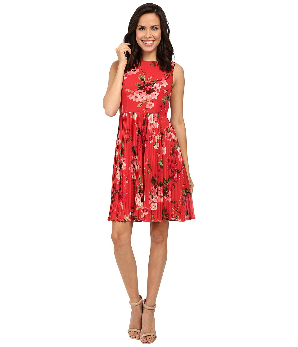 Adrianna Papell - Printed Pleated Fit and Flare Dress (Rose Marquee Multi) Women's Dress